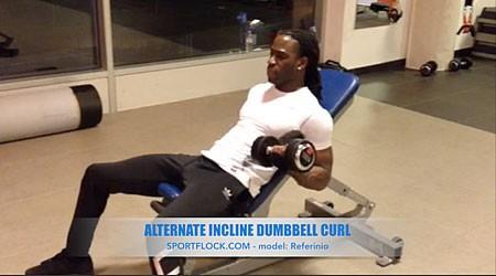 Alternate Incline Dumbbell Curl
