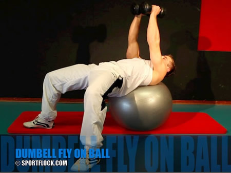 Stability Ball Dumbbell Flyes